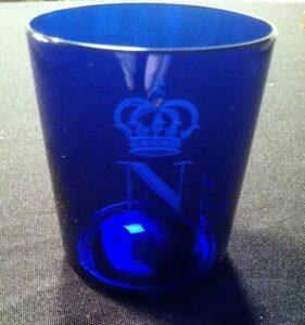 Napoleon cobalt blue glass cup