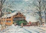 Oil painting of covered bridge