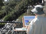 Artist painting outside