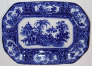 Blue Staffordshire Pottery Plate