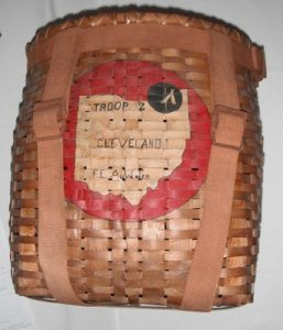 Antique woven boy scout backpack