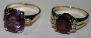 Two rings with colored gemstones