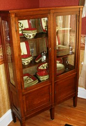 Glass cabinet with china
