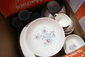 Antique plate and cups in box