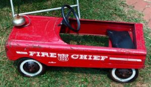 Antique pedal firetruck
