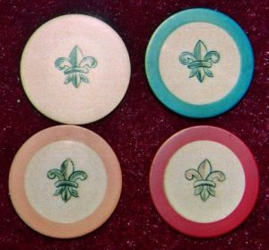 4 antique poker chips