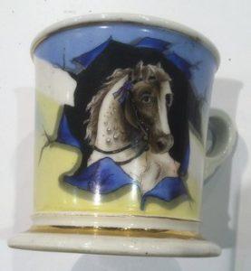 Shaving mug with horse