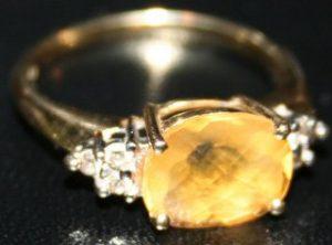 Yellow citrine antique ring